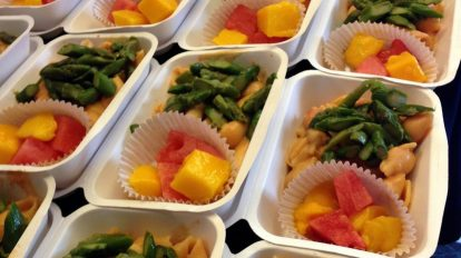 Seafood pasta with mango and watermelon!