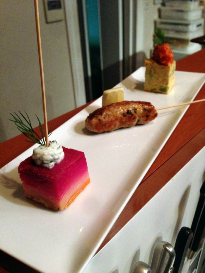 On course menu: veggie millefeuille, mini pintxo morouno, fish bait and zucchine tortilla !