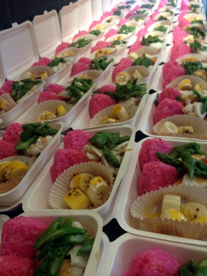 Organic Sakura Onigiri with Fish and Fresh fruits