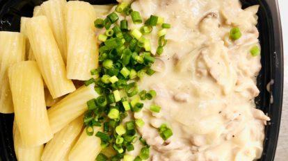 Pork stroganoff with potato gratin